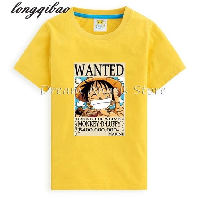 Verano de los muchachos 2017 de los niños del desgaste de manga corta Pieza Luffy niños Mayores que basa la camisa Coreana Camiseta de Los Muchachos