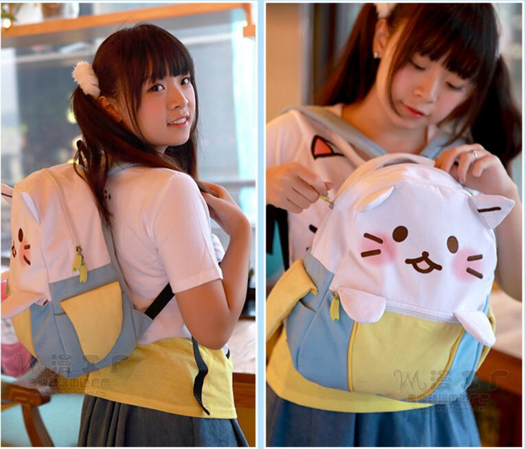 Banana Backpack Cute Cat School Backpacks Funny Quality Pu Leather Canvas Fashion Women Shoulder Bag Travel