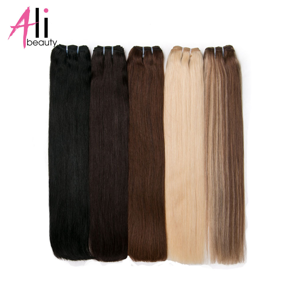 Ali-Beauty Straight Human Hair Weft Bundles Remy Natural Human Hair Extension 100g Can Curly 18-26