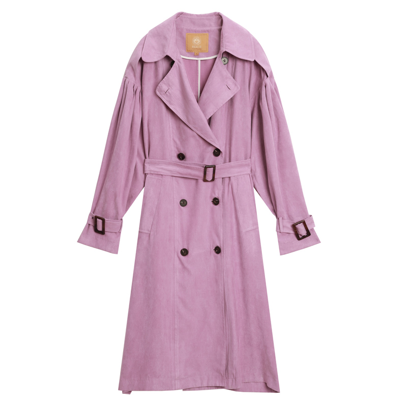 ELF SACK New Casual Trench Woman Solid Turn-down Collar Full Women Trench Coat Double Breasted Oversized Streetwear Femme Trench 4
