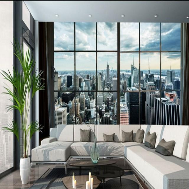Wallpaper 3d Custom Window Outside Panoramic City 3d Stereo Tv
