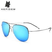 HEPIDEM Titanium Alloy Sunglasses Men Nylon Lenses Aviation Sunglass Aviador Half Ultra Light Mirror Sun Glasses for Women 8617