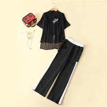 2 piece set women pant and top patchwork chiffon short sleeve embroidery black blouses stripe elastic waist wide leg long pants