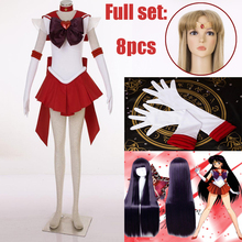 8pcs/set Athemis Anime Sailor Moon Hino Rei/Sailor Mars Super S Cosplay Costume Custom Made Any Size Dress Miniskirt with Wig athemis anime sailor moon chiba mamorui cosplay costume custom made any size high quality