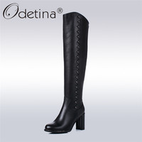 Odetina 2017 New 100% Genuine Leather Block High Heel Knee High Boots Round Toe Winter Warm Riding Boots Shoes Rivet Big Size 43