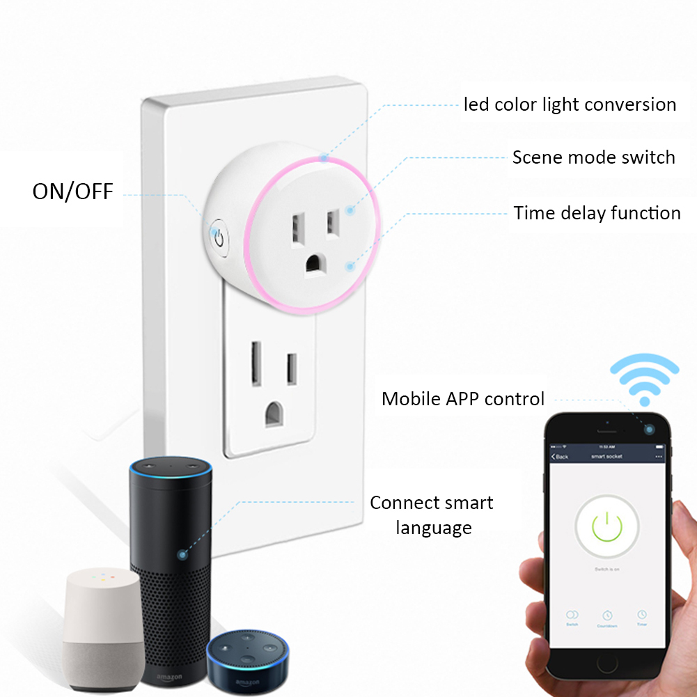 Ai Scene Light Timing Remote Control Wifi Smart Socket Us Plug Or Rondaful Motion Led Wiring Diagram Energy Saving And Safe Reduce Equipment Wasting Electricity While Effectively Preventing High Power From Heating By Using Too Much