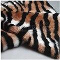 2 cm tejido de felpa de pelo largo lujo tiger print tejido de piel sintética para la ropa de juguete cojín