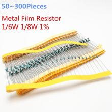 50~ 300 шт. 1/6W 100 кОм 1/6W равна 1/8 Вт 1% радиального типа DIP металлического пленочного осевой резисторы 100K ohm 0,125 W 0,167 W