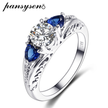 цена PANSYSEN Classic Wedding Engagement Sapphire Rings For Women Real 925 Sterling Silver Gemstone Couple Ring Fine Jewelry Gifts онлайн в 2017 году