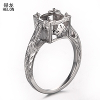 925 Sterling Silver Engagement Wedding Party Ring Semi Mount Ring for 7.75mm 8.5mm Round Setting Antique Fine Jewelry wholesale