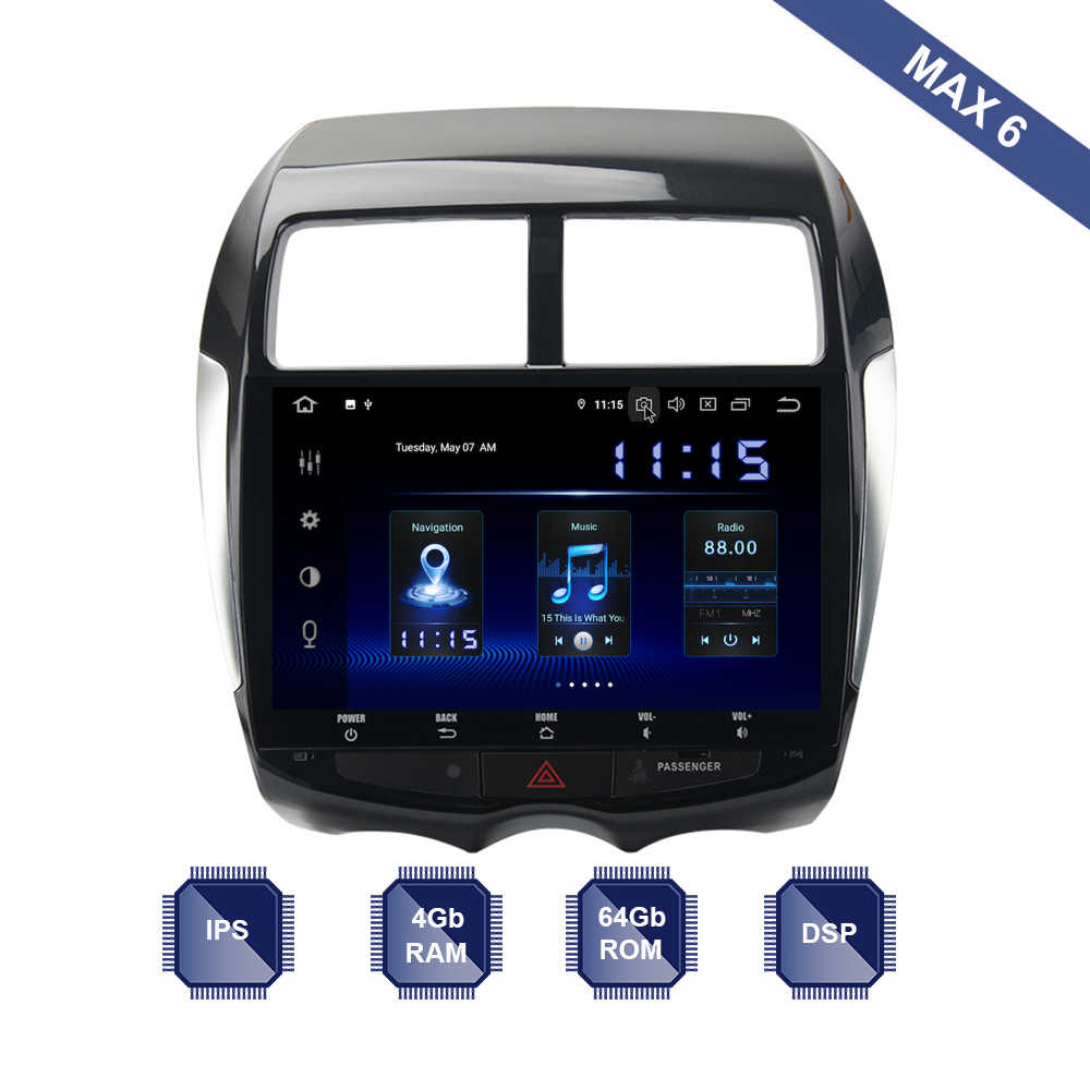 2 Din GPS Navi Android 9.0 Rádio Do Carro para Mitsubishi ASX 2010-2018 Outlander Esporte RVR PX6 DSP IPS gb + 64 4 Gb RDS WIFI Carplay USB