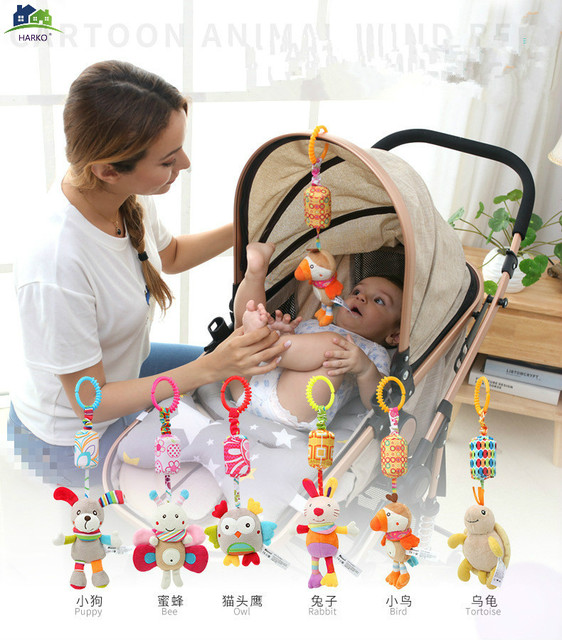 Rattle Toys For Baby Cute Puppy Bee stroller Toy Rattles Mobile Baby bed Stroller 0 12 Months Infant Bed Hanging toy погремушки