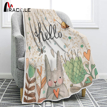 Miracille Cute Rabbit Printing Flannel Blanket for Kindergarten Cartoon Animal Throw Blankets On Bed Sofa Bedding