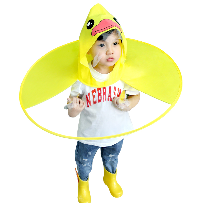 Waterproof Raincoat Foldable Cute Cartoon UFO Rain Coat Children Umbrella Hat Magical Hands Raincoat Deloito Baby Boys Girls Raincoat Suit