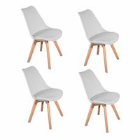 1pc/4pcs Panana Tulip Dining Office Chair Solid Wood Legs ABS Plastic Padded Seat Livingroom Coffee Room Lounge Seat White