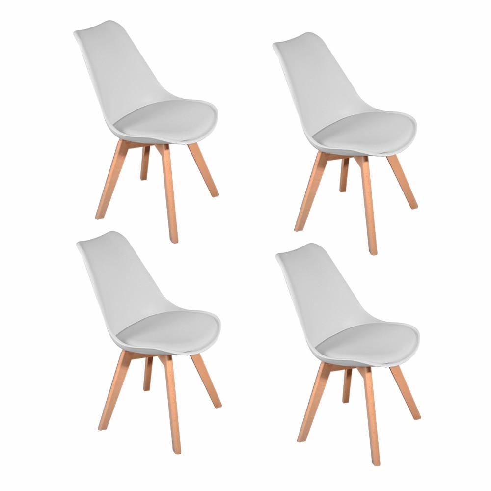 Spain Stock 1/4pcs Panana Tulip Dining Office Chair Solid Wood Legs ABS Plastic Padded Seat Livingroom Coffee Room Lounge Seat