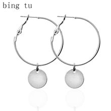 Bing Tu Big Circle Drop Earrings Punk Rock Women Round Hanging Pendants Earring Female Coin Dangle Earings boucle d'oreille(China)