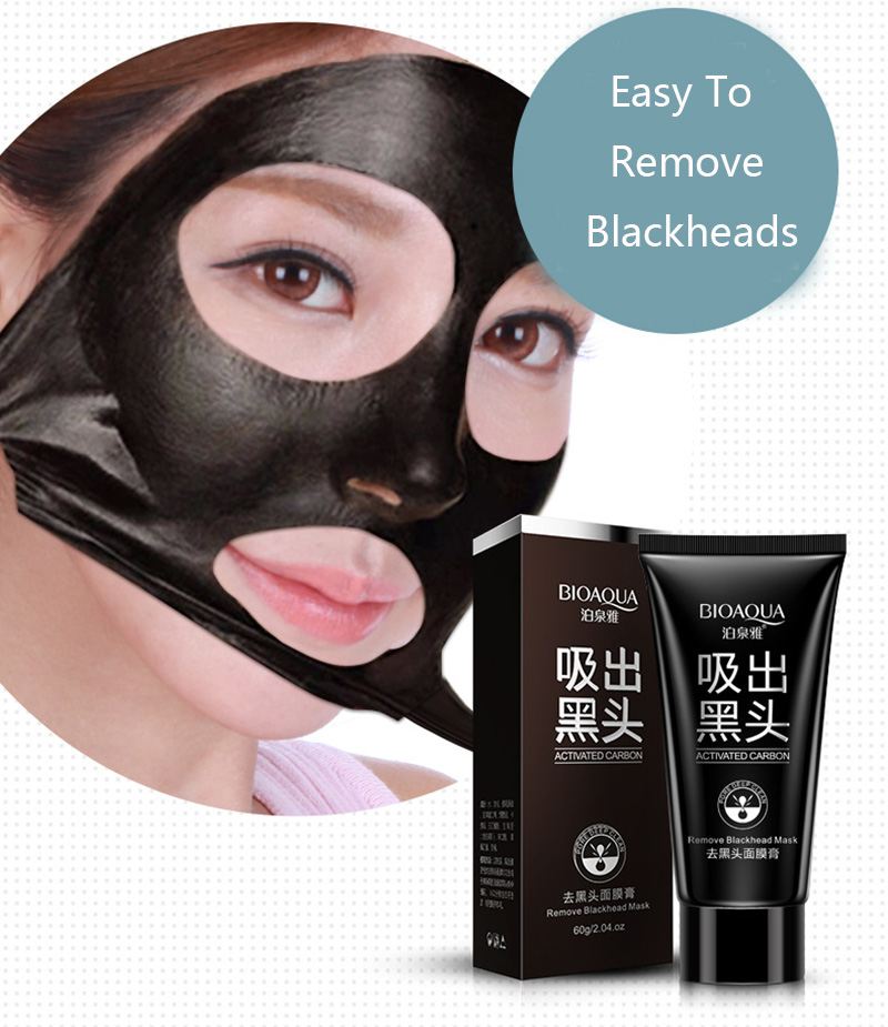 Bioaqua Black Mask Facial Mask Nose Blackhead Remover Peel Off Black Head Acne Treatments Pores Shrinking Deep Clean Face Care