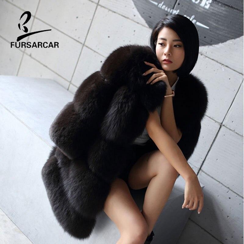 FURSARCAR Warm Winter Coat Fox Fur Coat For Women 100% Genuine Leather Natural Fox Fur Coat Female Long Overcoat Real Fur