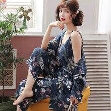 ใหม่ฤดูใบไม้ผลิฤดูใบไม้ร่วงดอกไม้ชุดนอน Femme ผ้าฝ้าย Pijamas Mujer เสื้อผ้าแขนยาว 3 ชิ้นชุดชุดนอนสำหรับสตรี homewear
