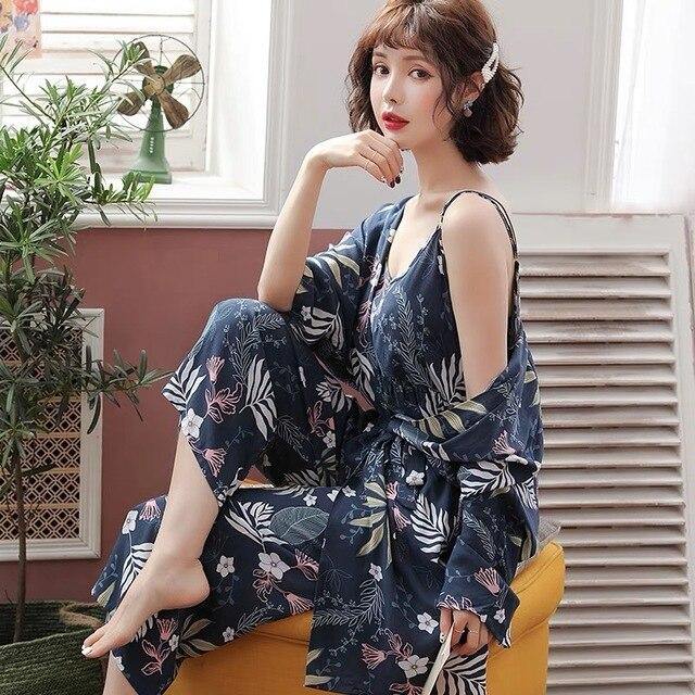Pyjama chaud en coton pour Femme, nouvelle collection, manches longues, doux, ensemble 3 pièces printemps automne, fleurs