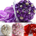 Romantic Pearl Wedding Bouquet Flowers For Bridal Luxury Crystal Artificial Silk Rose Flower Wedding Bouquet 2015 Hot Sale WF009
