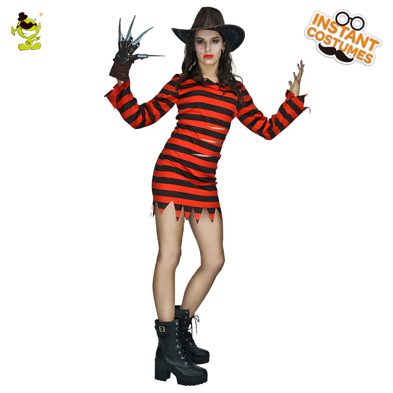 Adults Freddy killer Costume High Quality Halloween Movie Female Cosplay Outfit For Woman