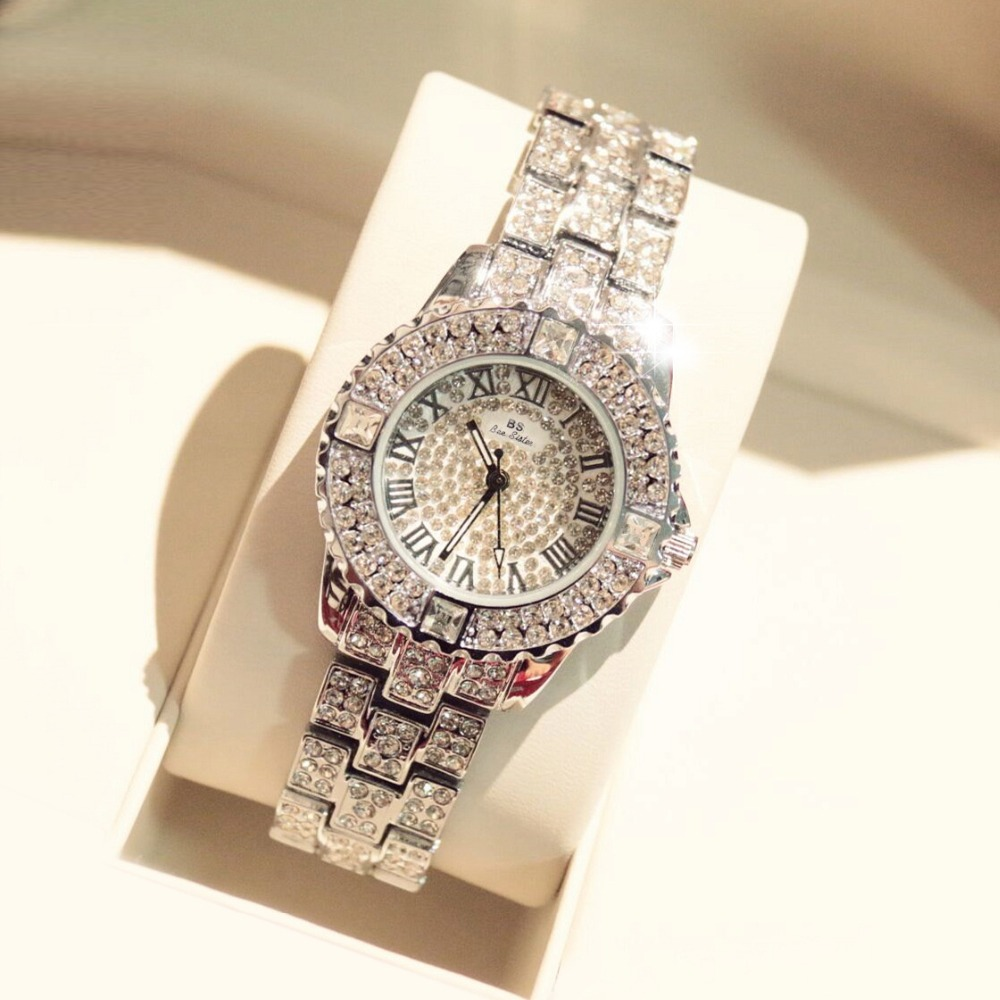 Arrival Famous Bs Brand Stylish Watch Women Luxury Austrian Crystals Watch  Silver Shinning Diamond Rhinestone Bangle Bracelet