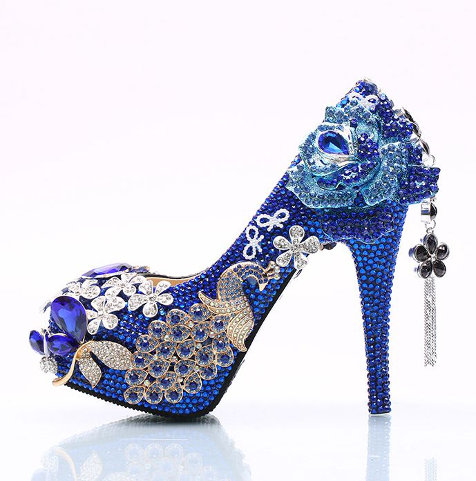 2018 blue collection womens wedding party shoes HS122 luxury handmade high heels platforms royal blue crystal diamond dress shoe цены онлайн