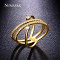 Newbark romance único anéis para o natal design simétrico anillos anel rosa banhado a ouro cúbicos de zircônia jóia do casamento