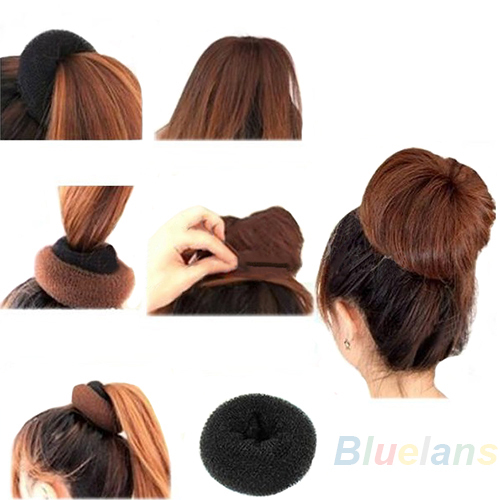 Fashion Hair Donut Bun Ring Shaper Roller Styler Maker Brown Black Blonde Hairdressing Elastic Round Hair Styling Tools Braid Maintenance