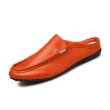 Summer Men Loafers PU Leather Casual Shoes Fashion Slip On Driving Shoes Breathable Moccasins Orange Suede Loafers