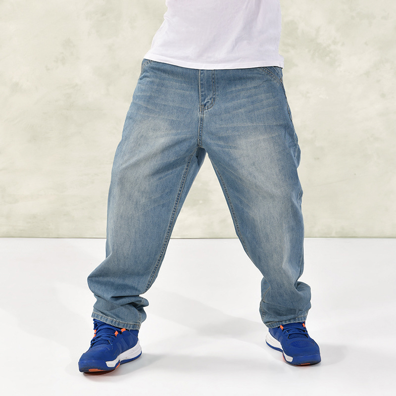 2016 New Mens Jeans Big Size 30-46 6XL Straight Loose Hip Hop Jeans Men Brand Clothing Blue Skateboard Cowboy Pants