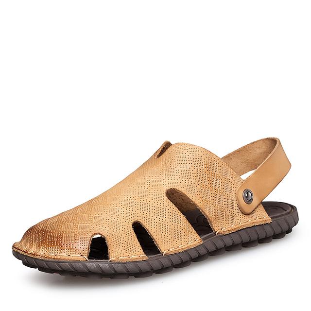 Euro38-47 Clásico Mens Cruz-correa Sandalias de Gladiador de Cuero Genuino Retro Del Verano Hombres Casuales Sandalias de Cuero de Playa de Arrastre Zapato Masculino