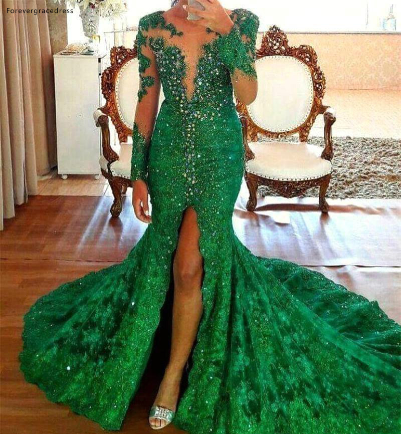 Mermaid Long Sleeves Prom Dresses 2019 Emerald Green Appliques Split Pageant Holidays Graduation Wear Formal Evening Party Gowns