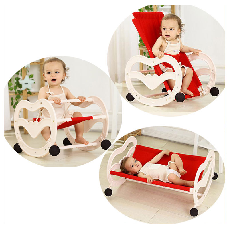 2 In 1 Folding Baby Rocking Chair Newborn Comfort Sleeping Cradle Rocking Horse Swing Chair Bouncer Lounge Infant Swing Cot Crib baby rocker stroller newborn baby rocking hose swing chair cradle portable baby bouncer toddler sleeping lounge seat recliner