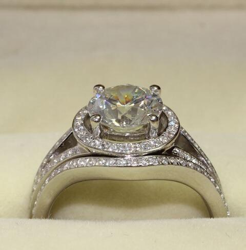 Luxury quality 2 carat NSCD man made dia mond wedding ring women bridal set  engagement anniversary ring set Gift free shipping 24f8a5b617