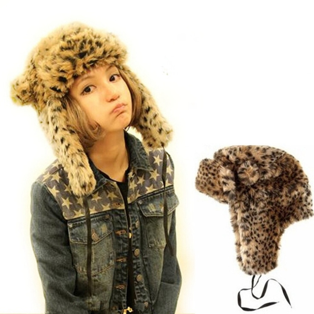 Cap Ears Female Leopard Faux Fur Russian Aviator Bomber Thick Warm Winter Outdoor Hats With Earflaps For Women Snow Ski Caps