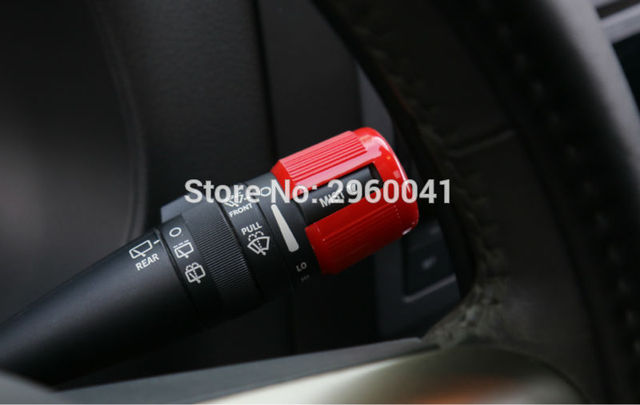 2PCS ABS Red Steering Wheel Pull Rod Switch Control Lever Protect Cover Guard Trim For Jeep Wrangler Patriot Compass 2010-2016