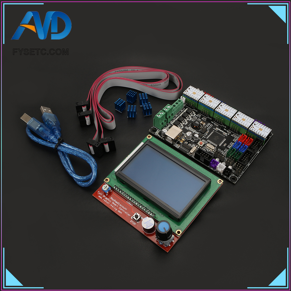 MKS Gen V1.4 control board +12864LCD + TMC2208 And Heatsink stepper motor compatible with Ramps1.4/Mega2560 R3 3D printer parts mks gen v1 4 control board mainboard compatible with ramps1 4 mega2560 r3 5pcs tmc2130 v1 0 stepper motor for 3d printer parts