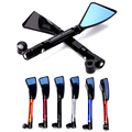 CNC Aluminum Universal Motorcycle Rear View Mirrors Blue Glass Curved Rod For Street Bike Sport Bike Scooter CRUISER