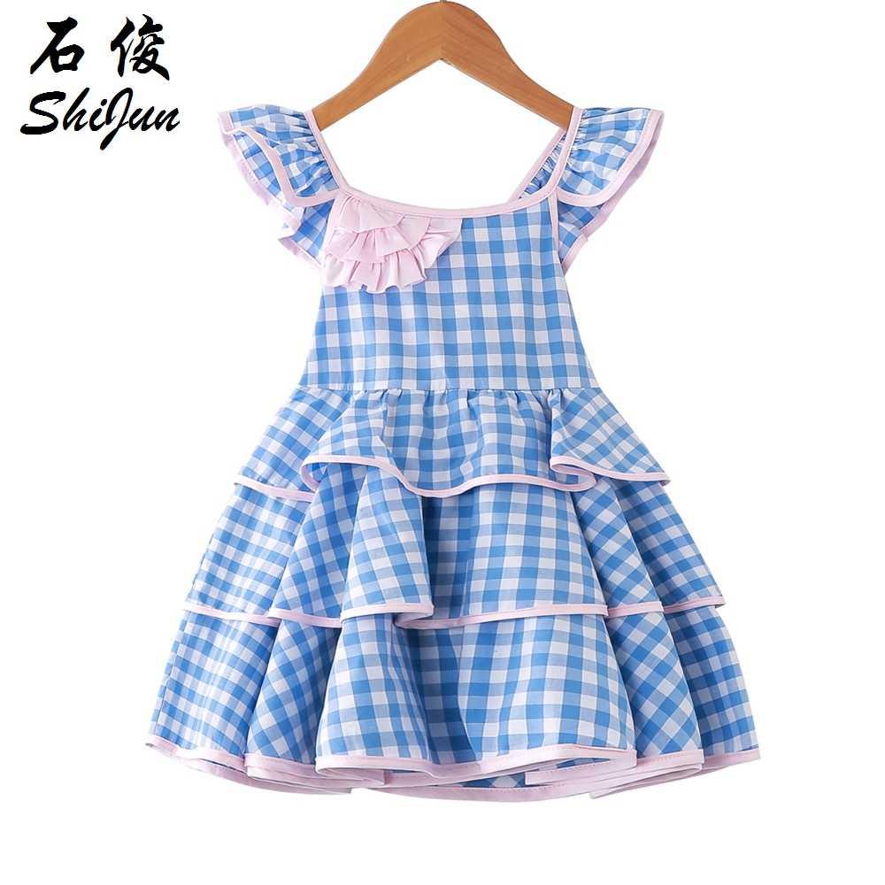 6004662faf6e48 ShiJun Kids Cotton Frocks Design Lattice Spaghetti Strap Girls Child Dress