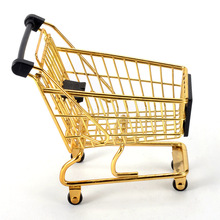 Storage Basket  Mini Gold Shopping Cart Model Creative Trolley Iron Metal Phone Holder Toy Container Desk Decor