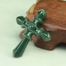 Natural Jade Carved Cross Pendant Real HeTian Carving Lucky Pendants Necklace Fashion woman Mans Jewelry