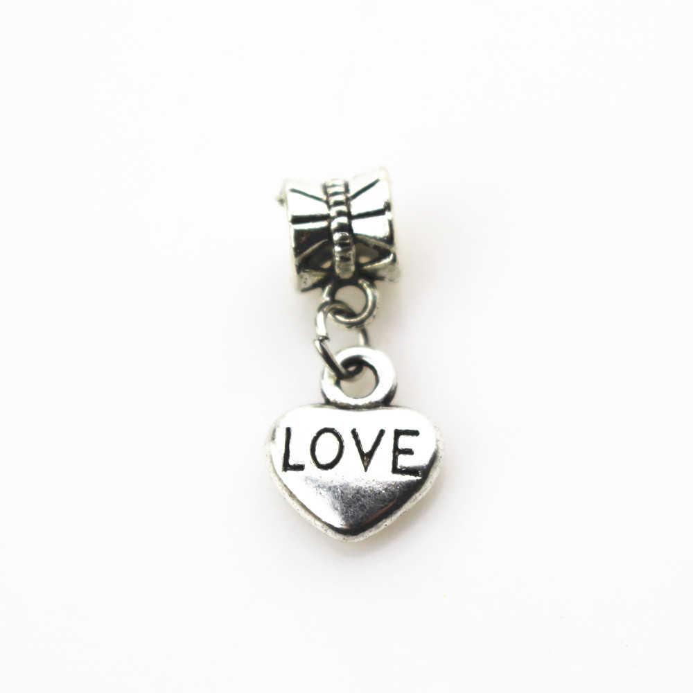 50pcs/lot Heart love hearts Charms Dangle Hanging Charms big hole Beads European pendant fit pandor charms bracelet DIY jewelry