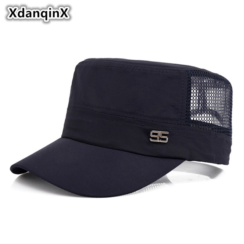 XdanqinX Summer Men 39 s Mesh Breathable Military Hats Adjustable Size Flat Top Cap For Adult Men Male Bone Snapback Tongue Caps in Men 39 s Military Hats from Apparel Accessories
