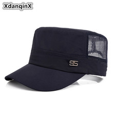 XdanqinX Summer Mens Mesh Breathable Military Hats Adjustable Size Flat Top Cap For Adult Men Male Bone Snapback Tongue Caps