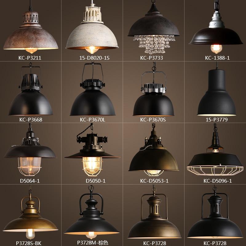 Vintage Rustique En Métal abat-jour Edison Pendentif lampe lumières Rétro Lustre ombre suspendus lampe Mobilier Industriel éclairage lamparas