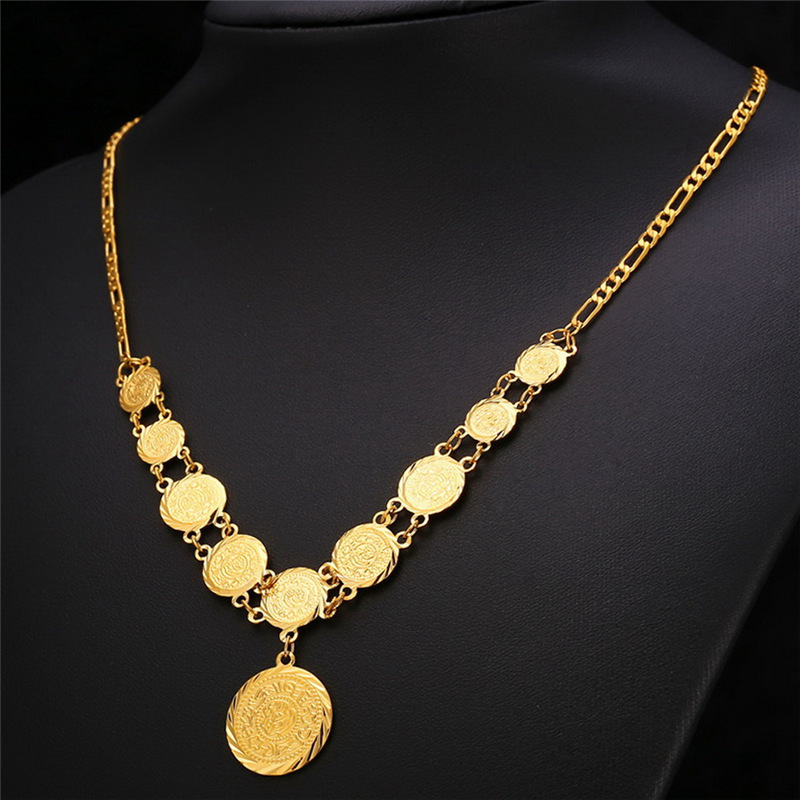Kpop Arabic Gold Color Jewelry Coin Set Earring Necklace Bracelet Vintage For Women Gift Neh204 In Sets From Accessories