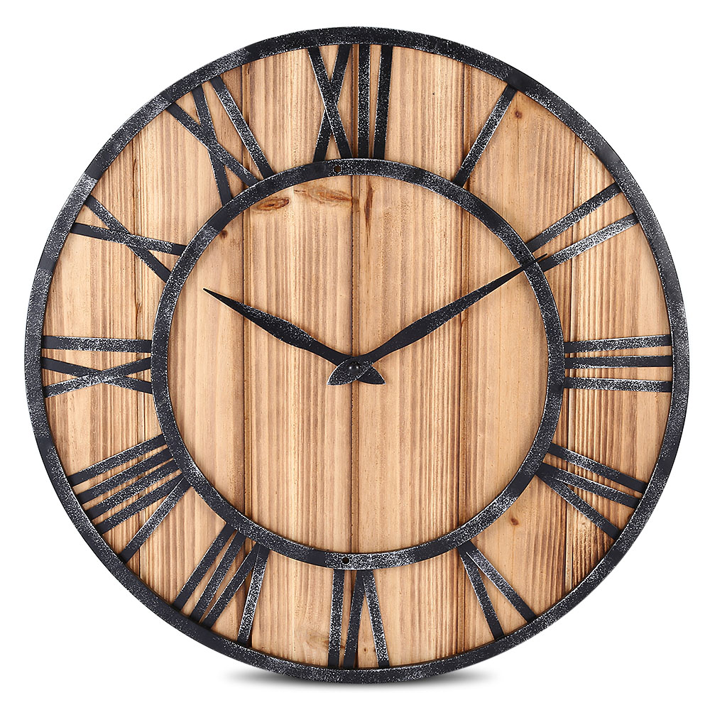 European Vintage Style Wall Clock Round Solid Wood Metal ...